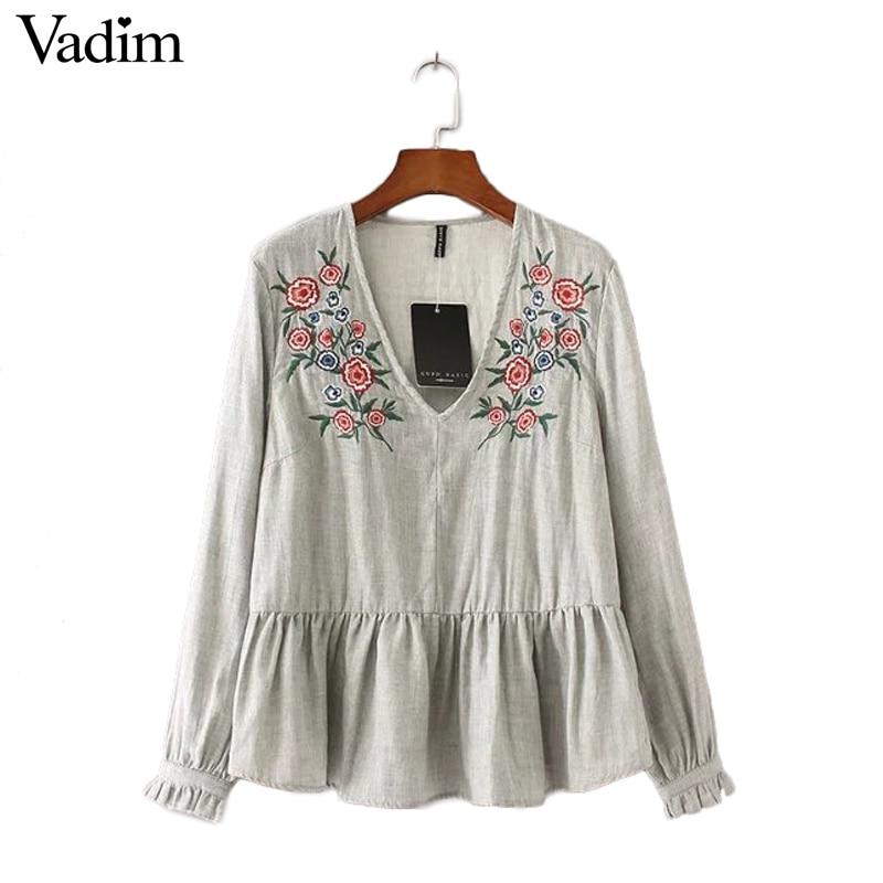 Buy women floral embroidery v neck for Mens dress shirt monogram location