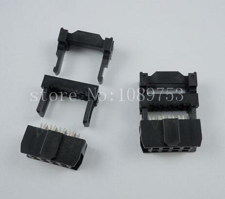 20pcs FC-8P IDC Socket 2.54mm JTAG Socket ISP Connector Black 200 pcs fc 14p 14 pins male idc socket plug ribbon cable connector black free shipping