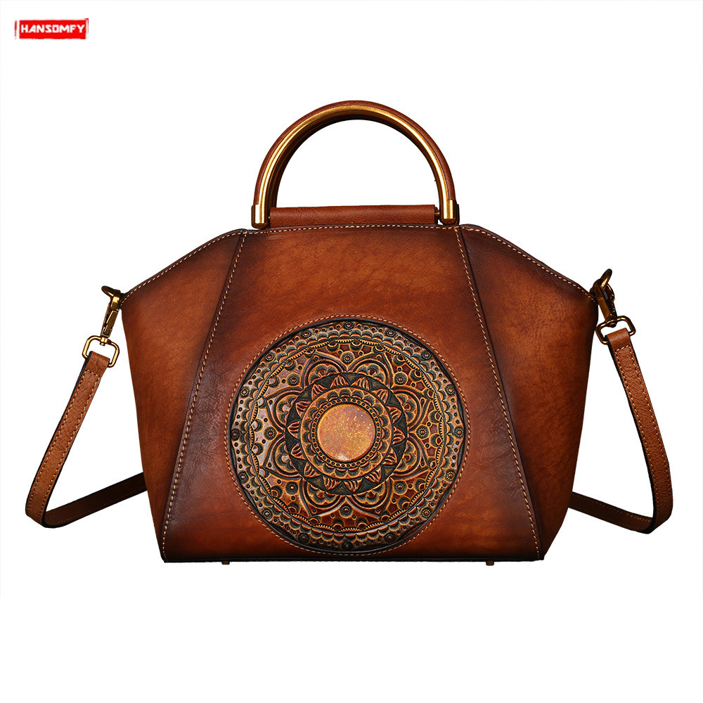 Luxury fashion Womens handbag Totem Embossed genuine Leather female Shoulder bag Top Layer Leather Retro messenger Tote BagLuxury fashion Womens handbag Totem Embossed genuine Leather female Shoulder bag Top Layer Leather Retro messenger Tote Bag