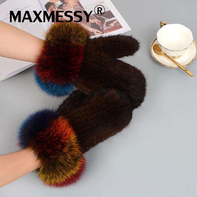Maxdésordre hiver chaud femmes gants élégant véritable renard vison fourrure gants main poignet plus chaud sans doigts femme pilote mitaines MM007