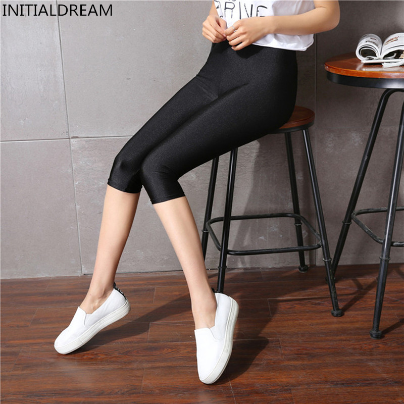 Women's Calf-Length   Leggings   Slim Solid Female Shiny Pant Mujer Simple Casual Elasticity Trousers Large size S-5XL