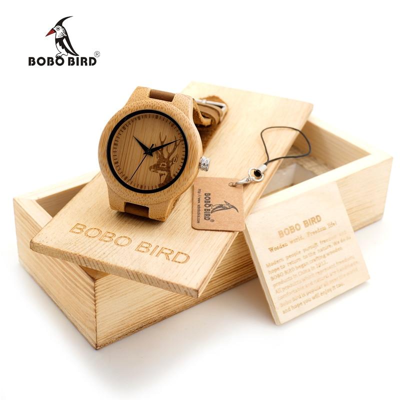 Prix pour BOBO BIRD En Bois Montre Dames Graver Cerf Bambou Cadran Quartz Montre-Bracelet avec Bande de Cuir Véritable dans une Boîte Cadeau