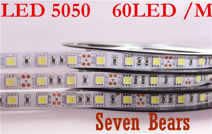 Double PCB Good LED Strip 5050 12V Flexible Light 60 Leds/m,5m/lot Warm White,White,Blue,Green,Red,Yellow,RGB  NON-WATERPROOF