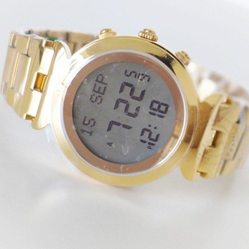 Leahter Box Harameen Muslim Lady Watch Prayer Azan Wristwatch Islamic gift  for Woman Auto Qibla Athan clock Lady bracelet Watch