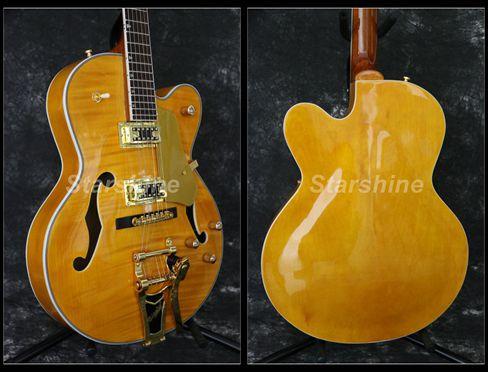 Starshine corps creux guitare électrique YL-JZ50 BB pont or matériel flammé érable haut Grover accordeur L5 Style bons micros