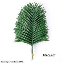 Feuille de palmier en bambou artificiel, 10 pièces, bouquet de fausses feuilles vertes pour décoration de jardin de mariage en plein air