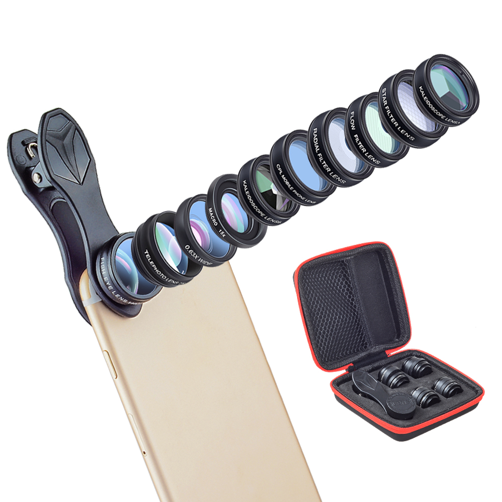 Ulanzi 10 in 1 Phone Camera Lens Kit Fisheye/Wide Angle/Marco/Telescope/CPL/Kaleidoscope/Flow/Radial/Star Filter Lens for iPhone