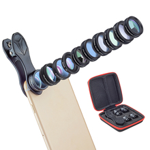 Sale Ulanzi 10 in 1 Phone Camera Lens Kit Fisheye/Wide Angle/Marco/Telescope/CPL/Kaleidoscope/Flow/Radial/Star Filter Lens for iPhone