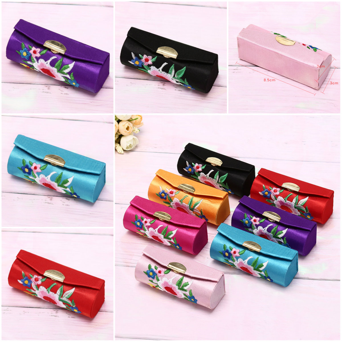 Fashion Holder Flower Design Lipstick Case Retro Embroidered  With Mirror Jewelry Packaging Box