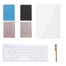 Wireless Bluetooth Keyboard with 2 Stand PU Leather Case Cover Smart Bluetooth Keyboard Stylus Pen Screen Protector For iPad