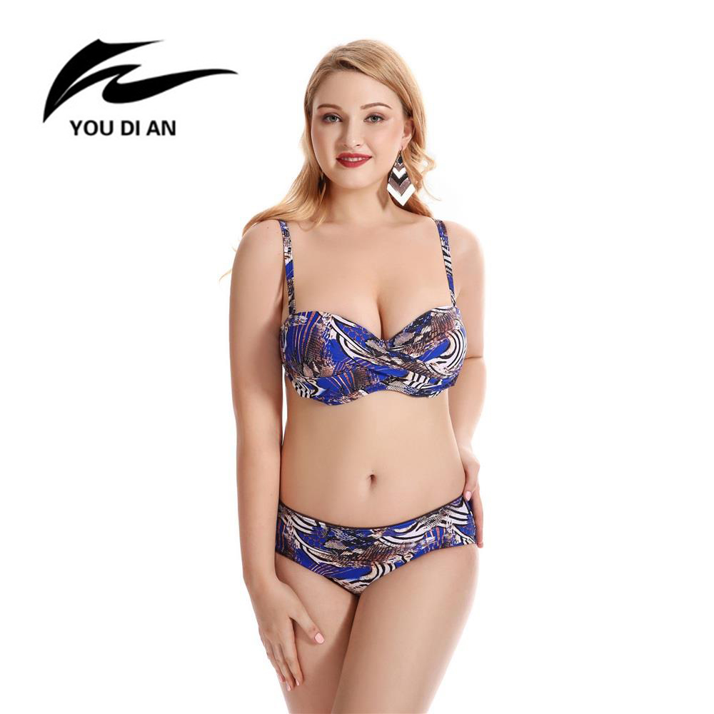 YOU DI AN Plus Size Mid Waist Swiming Wear Sexy Printing Female Underwire Push Up Beach Wear Bathing Suit Bikini Set Biquini