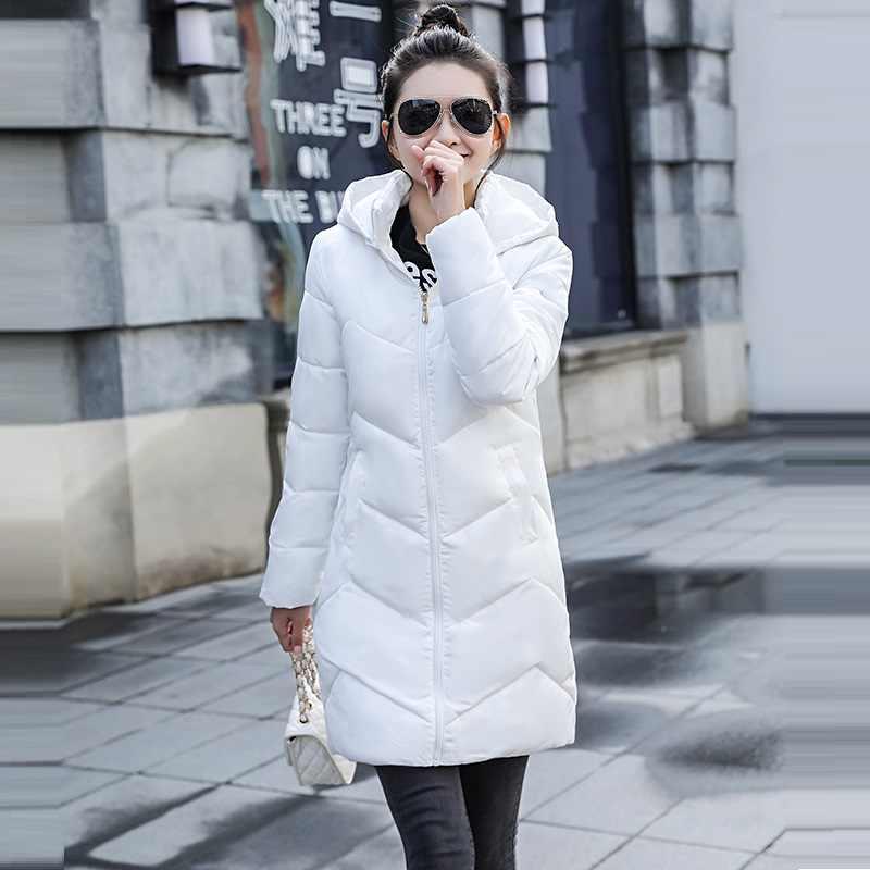 Новые белые Для женщин парка в европейском стиле Женская зимняя обувь Теплая Куртка утепленная средней длины с капюшоном, средней длины, с капюшоном, зимние куртки, женские пальто тонкий женский куртки-парки