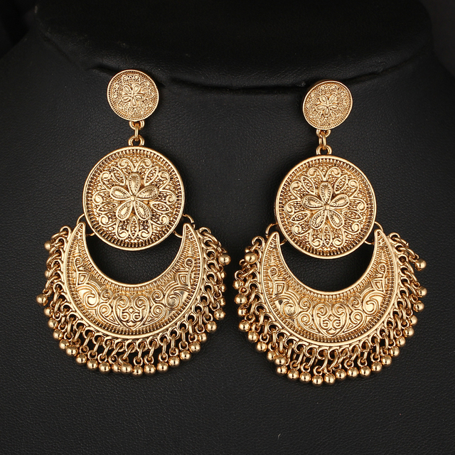 Vintage Big Pendant Flower Drop Earrings