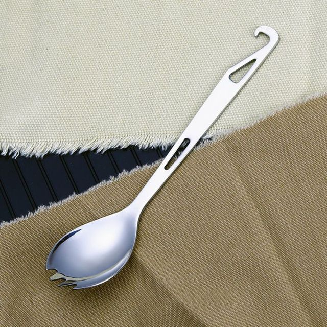 Home Using Outdoor Portable Long Handle Tableware Titanium Alloy Multifunctional Spoon Fork for Stirring Anti-scalding