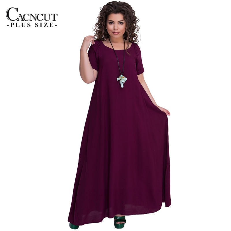 COCOEPPS New Plus Size Vintage Robe Solid Free Long Dress For Women Summer 2018 Big Size Casual Loose Maxi Dress Vestidos Blue