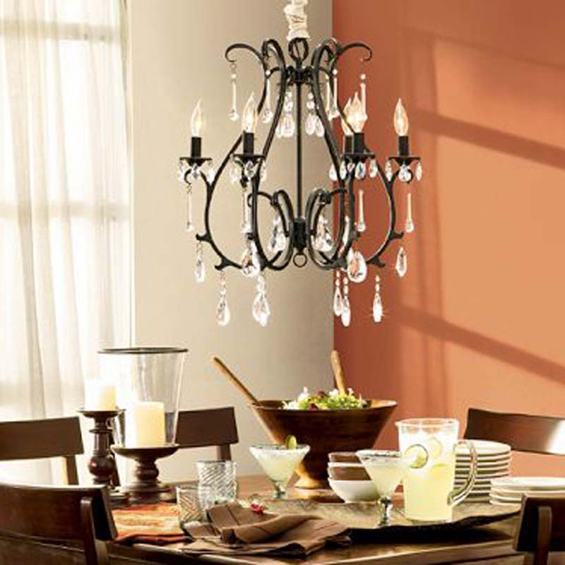 American Iron Vintage style 60cm candle rural country pendant light crystal E14 bedoom Retro iron lamps dining room bedoom study multiple chandelier vintage 60cm candle iron rural country ceiling light crystal e14 lamp lighting zx18