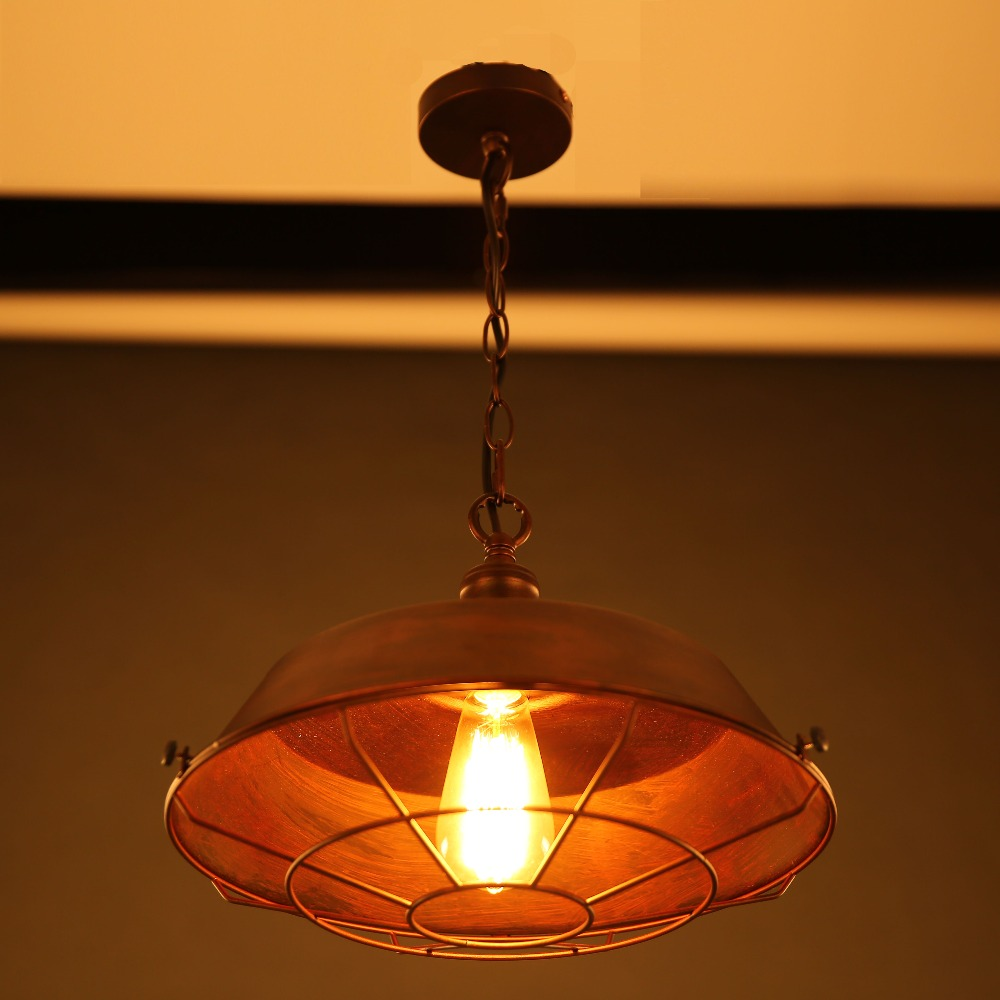 Vintage Pendant Lamp / Simple Vintage Brown Iron Cover