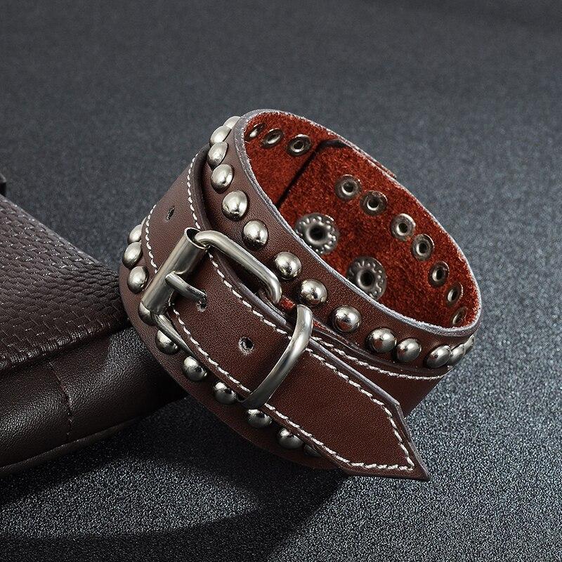 Jiayiqi 2017 Punk Genuine Leather Bracelet Fashion Black / Brown Color Rivet Bracelet & Bangles Jewelry Wide Cuff Men Bracelet