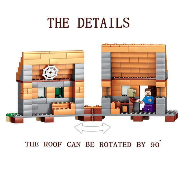 1106pcs Compatible Legoed Minecrafted model building toys Building Block My Village My World Brick Toy Gift hobbies for children