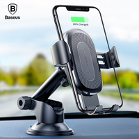 Baseus Qi Wireless Car Charger For iPhone X 8 Samsung S9 Xiaomi Mix 2S Suction Cup Wireless Charging Charger Car Phone Holder