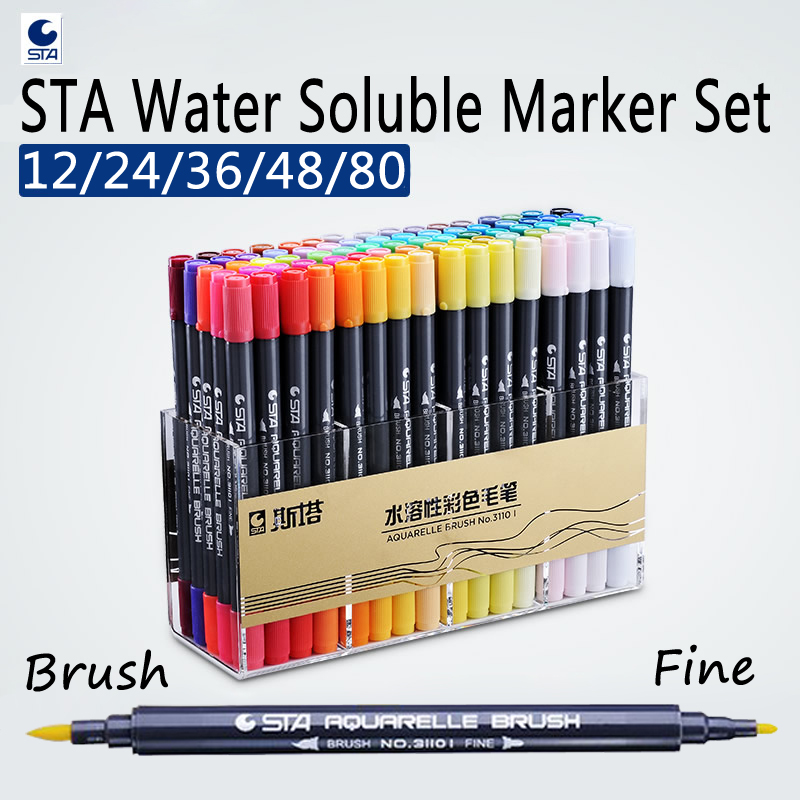 STA 12/24/36/48 Watercolor Brush Pen Set Waterbrush Markers for Professional Drawing Marker Manga Artist Markers Art Supplies
