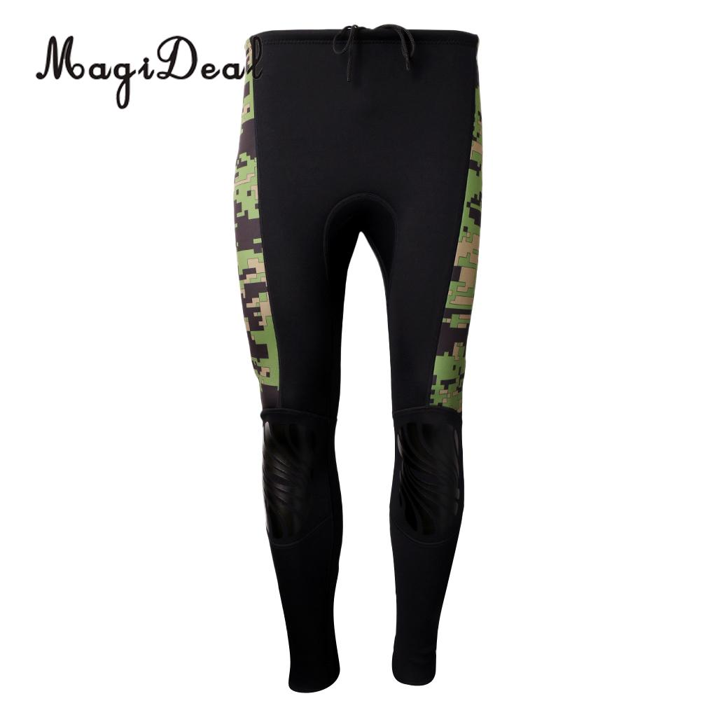 MagiDeal 2.5mm Neoprene Green Camo Scuba Diving Snorkel Surf Wetsuit Long Pants S/M/XL/XXL for Water Sports Boating Rafting Acce