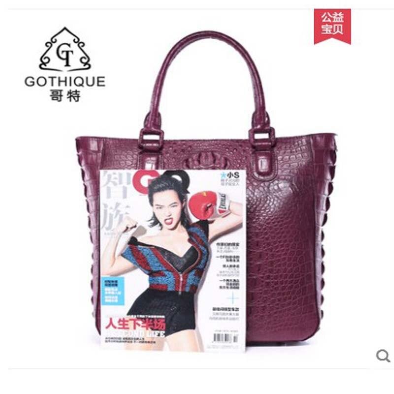 Américain Gete Mode Européen Simple Des Sac Cuir Crocodile Dame Thai Purple Pour Main Et 2019 Importé En Nouveau À Femmes rOwOt1