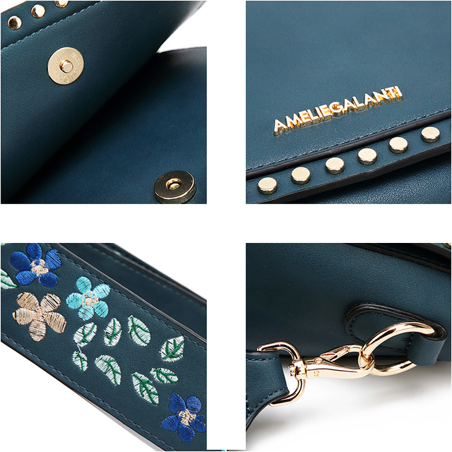 AMELIE GALANTI Small Women Handbag Luxury Leather Crossbody Bags for Women Shell Bag Embroidered with Long Straps Shoulder Bag Shoulder Bags