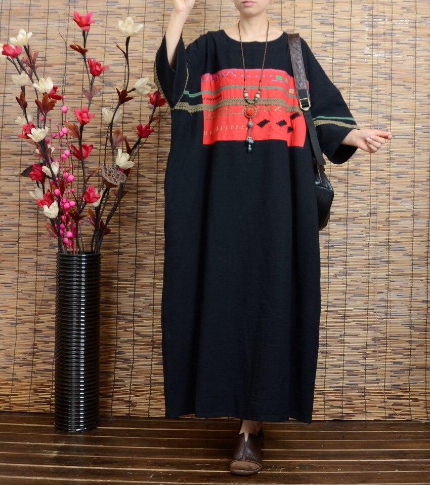 Black Jacquard Grande piece collo Dress One Accappatoio L'estate Allentato Dell'annata O Femminile Del Manica Ricamo E Primavera 2017 Liquidazione Mezza q46HTzz