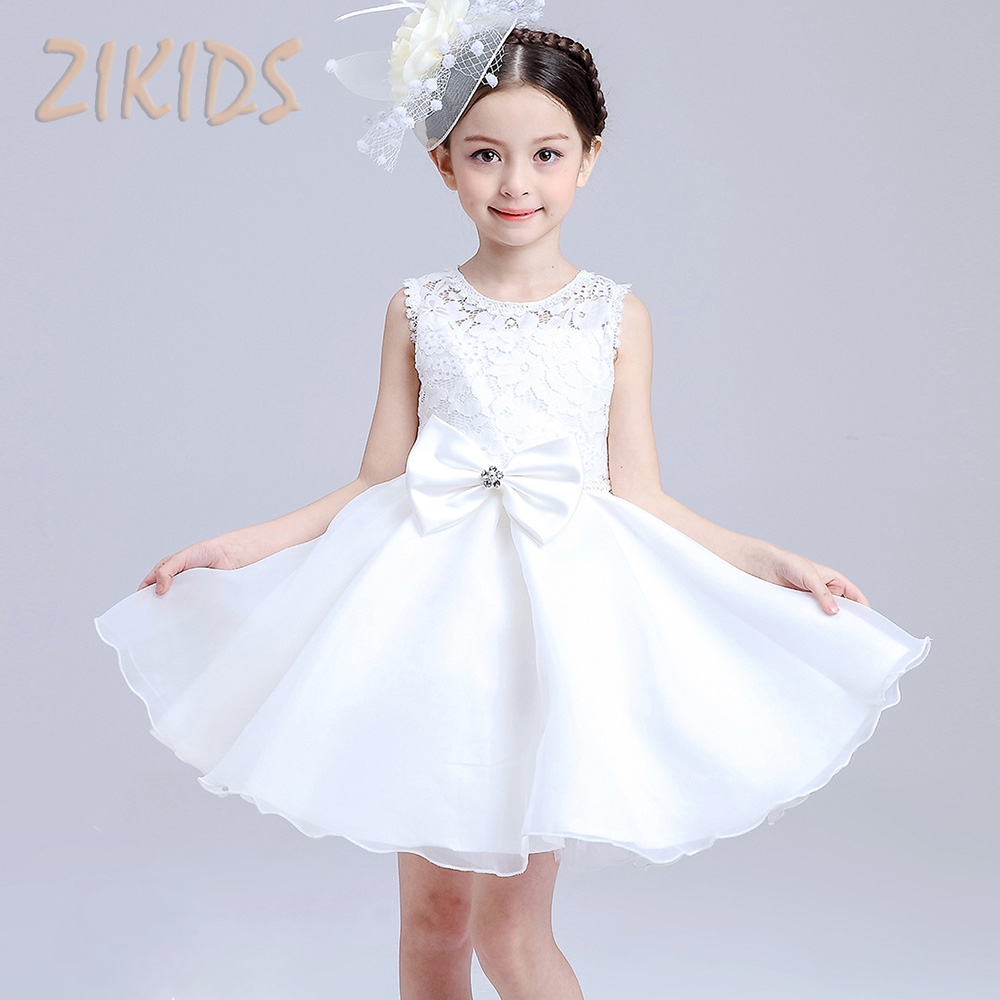 цены  Girl Party Dress Kids Wedding Dresses Cute Bow Flower Girls Clothing Sleeveless Lace Tutu Dress Children Summer Costume 2017