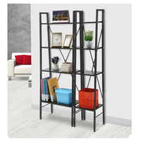 LADDER BOOKCASE BLACK SMALL LANGRIA 4 Tier Shelves Ladder Bookcase Storage And Display Standing Shelving Unit
