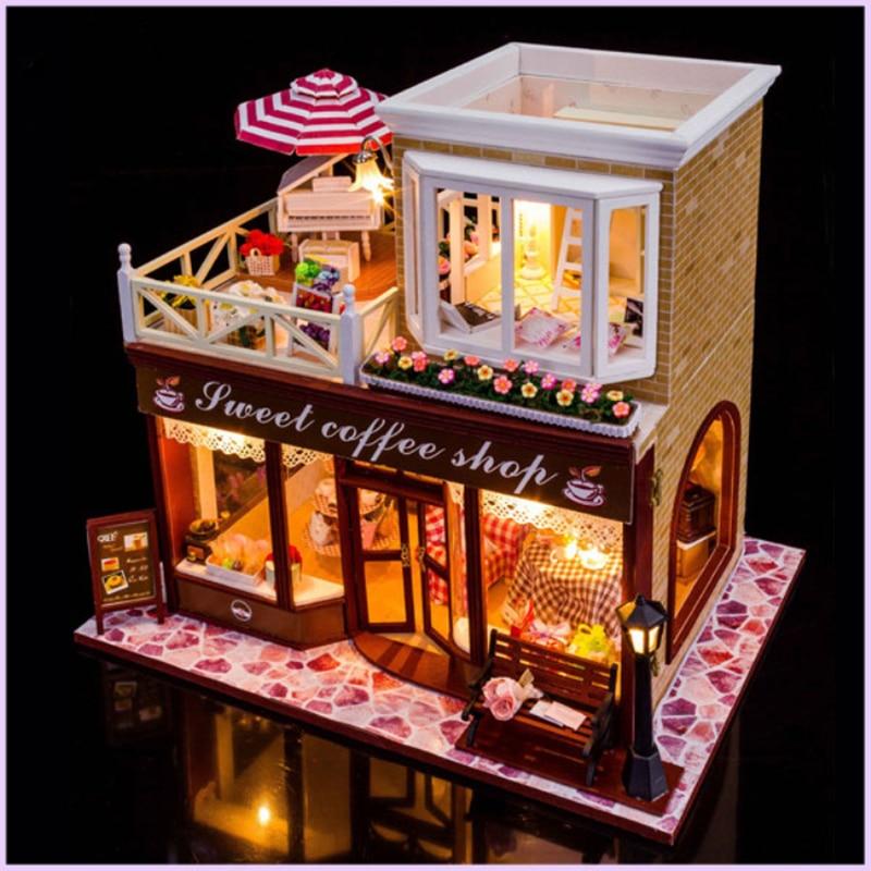 Doub k diy 커피 하우스 인형 집 미니 조립 모델 완구 퍼즐 미니어처 빌딩 dollhouses 가정용 인형 집-에서모델 빌딩 키트부터 완구 & 취미 의  그룹 2