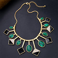Hyperbole  Euro America Retro Green Gem Geometric Collar Power Statement Necklace For Women N629