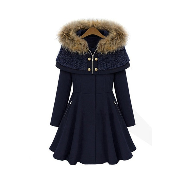 New Fashion Nice Vintage Winter Coats Woolen Jacket Slim Hooded ...