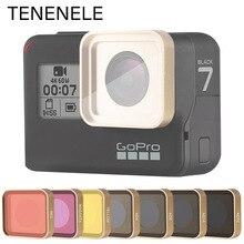 فلتر كاميرا الحركة Hero5/6/7 أحمر/أصفر/أرجواني/UV/CPL/ND 4 8 16 32 مجموعة المرشحات لـ GoPro Hero 5 6 7 عدسة زجاجية بصرية سوداء
