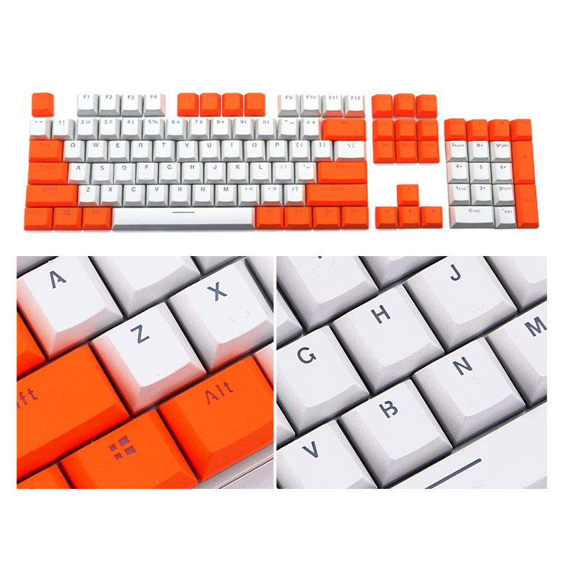 Contrast Color PBT Mechanical Keycaps For Cherry MX Mechanical Keyboards Low Profile 104 Buttons Gaming  Key Cap With Key Puller