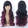 11 Colors Curly Hair Ombre Wig Cosplay Black To Red Synthetic Hair Wigs Pelucas Sinteticas