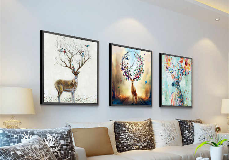 3 paintings / animal dragon ball diamond embroidery hand room 5d diy diamond painting nursery wall art cross stitch Sika deer
