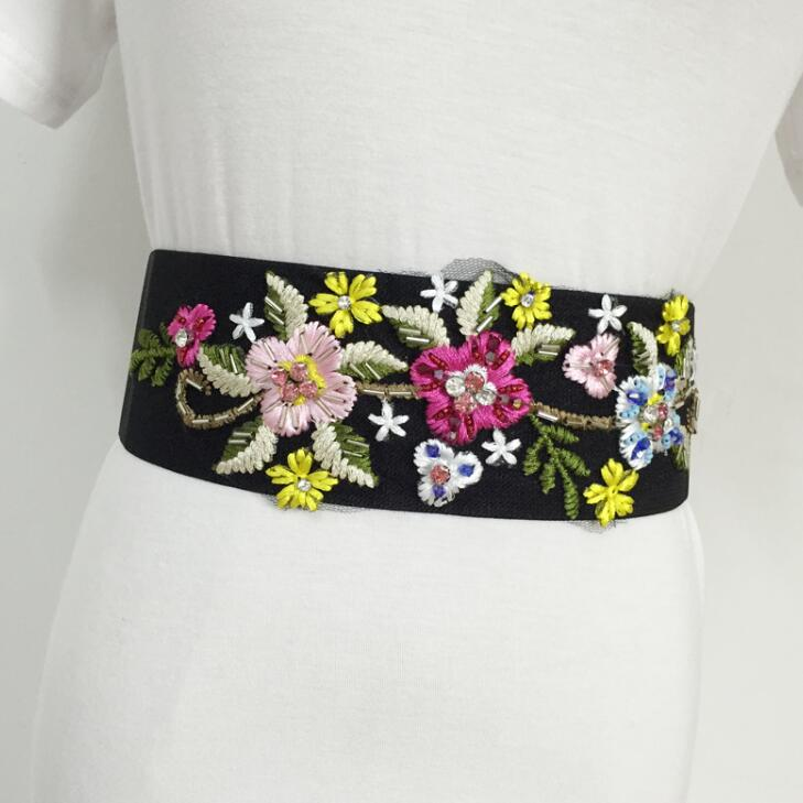 Women's Runway Fashion Embroidery Elastic Cummerbunds Female Dress Corsets Waistband Belts Decoration Wide Belt R1585