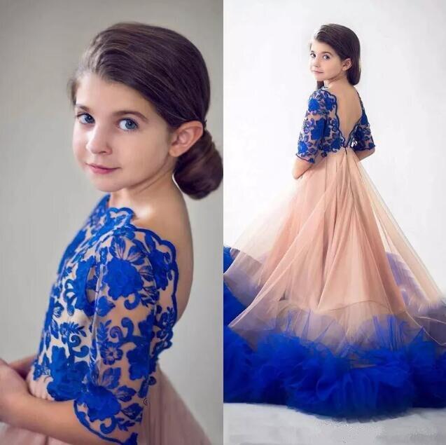 Princess Royal Blue Flower Girls Dresses For Weddings Designer Backless Lace Appliqued Ruffles Kids Formal Wear Pageant Gown