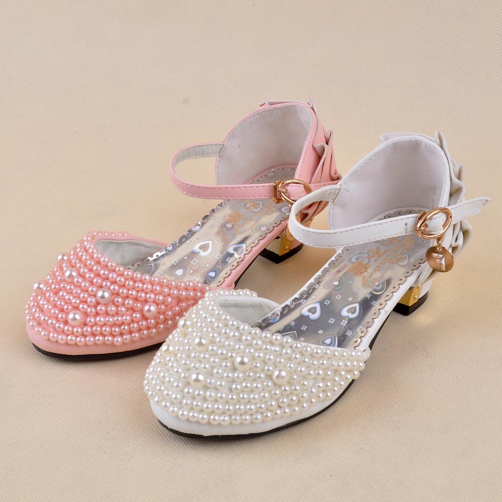 Shiny Pearls Baby Girls Princess Sandals 2016 New Summer Girl Wedding Baby  Shoes High Heels EuropeanMules Chaussure Enfant Fille-in Sandals   Clogs  from ... 940e0ee4c85c
