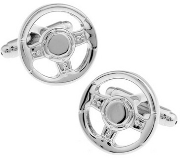Pictographic series silver color car steering wheel cufflinks manufacturers wholesale
