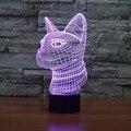 Nova Luz 7 Mudando A Cor do Gato 3D Visual LEVOU Candeeiro de Mesa acrílico Nightlight Luz Up Brinquedos para As Crianças O Melhor Presente Da Novidade Iluminação