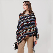 2019 winter women scarf cashmere Stripe matching lady poncho and caps thick warm coat Elastic knit pashmina shawl wrap stoles