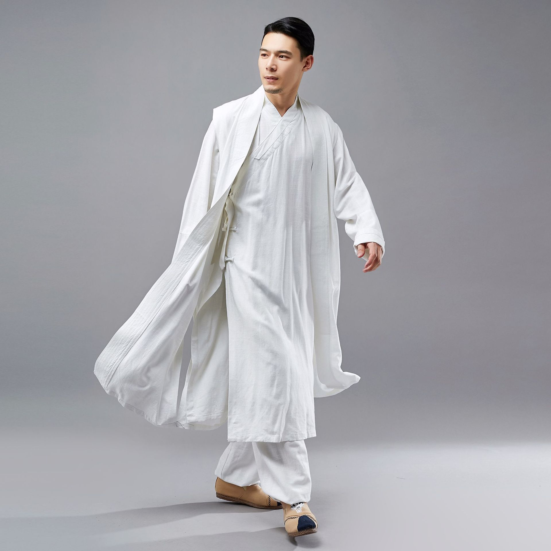 Men Long Vest Waistcoat Chinese Style Kung Fu Robe Costumes Male Fashion Casual Sleeveless Cardigan Coat Solid Color Overcoat