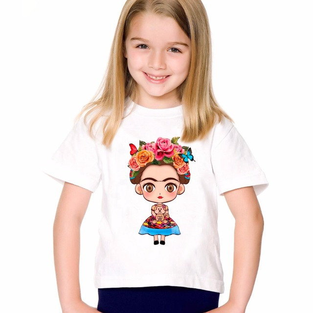 269bee84 TEEHEART Boys/girls's Casual T-shirt Fashion Female Artist Frida Kahlo  Printed T shirts Children O-neck Short Sleeve Tee TA729