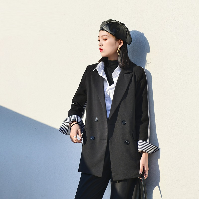 Stripe Blazer Femme Office Business Black Ladies Blazers Suit jacket female Loose casual Chic Suit 2019 Spring Fashion New
