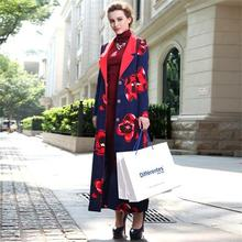 Muslim Clothing Islamic Coat Floral Print Maxi Trench Coats Plus Size Long Sleeve Turn-Down Collar Long Overcoats