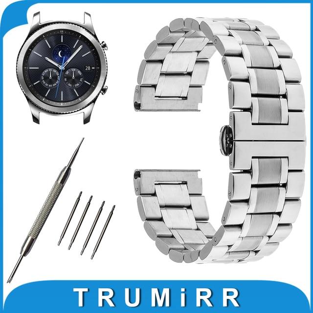 22mm butterfly venda de reloj de acero inoxidable hebilla de la correa + herramienta para samsung gear s3 clásico/frontier de pulsera pulsera de la correa plata