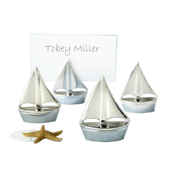 50Pcs Free Shipping Silver Name Card Holder Sailing Boat Party Table Decoration Metal Wedding Place Card Holder Wedding Supplies